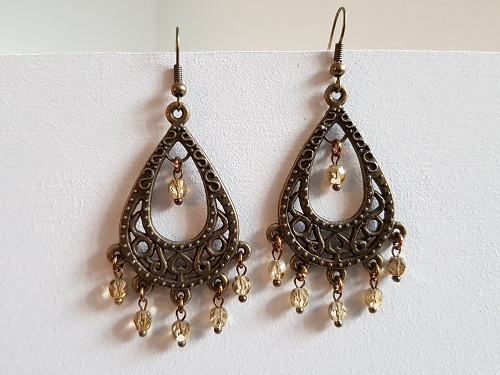 Bronze colored earrings with glass beads