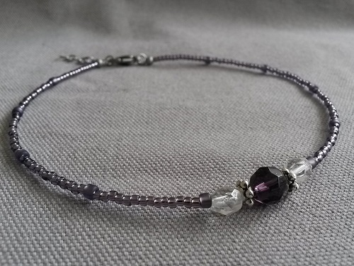 Anklet adjustable purple glass beads