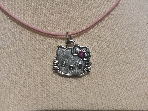 Hello Kitty necklace with metal pendant and pink rhinestone