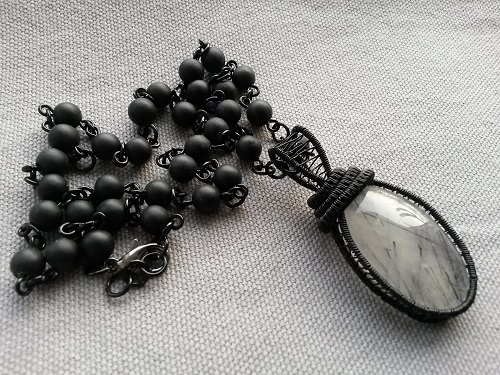 Black necklace with a stone chain and Rutile Quartz for her