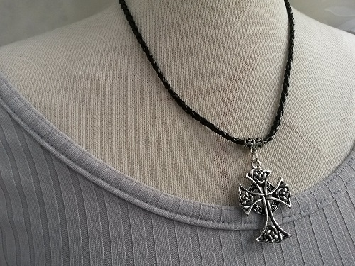 Cross necklace braided black artificial leather