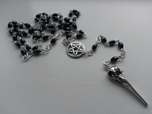 Black blue goth rosary with hummingbird skull pentagram