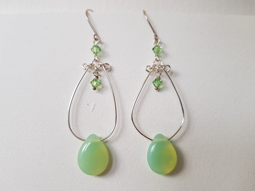 Long green loop earrings with Sterling Silver hooks