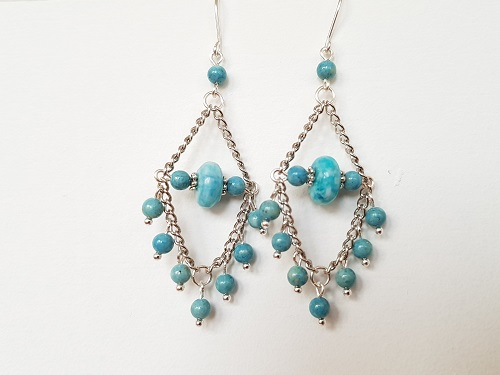 Dangle silver turquoise earrings with jasper and river stone