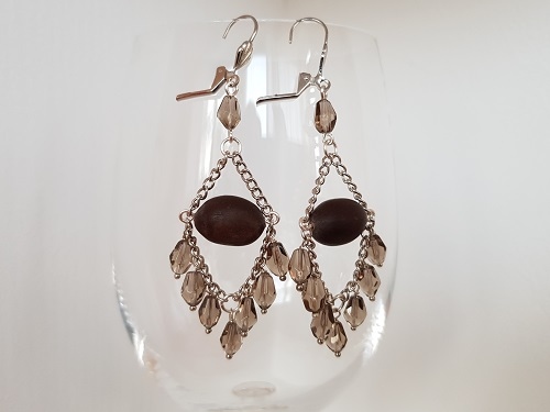 Long dangle earrings with lotus beads and drops