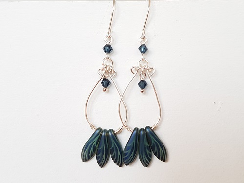 Long blue earrings with Sterling Silver hooks