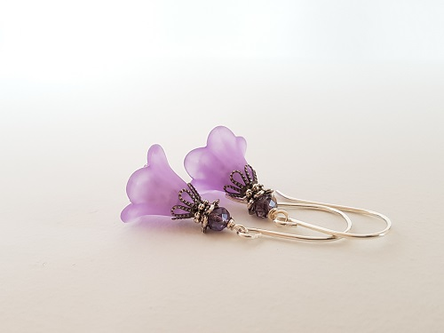 Dangle small light earrings purple flower silver hooks
