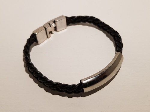 Thick hand braided black leather bracelet