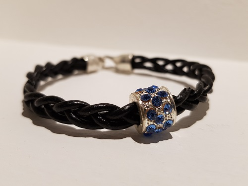Thick hand braided black leather bracelet blue rhinestone pearl