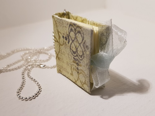 Necklace with miniature book pendant