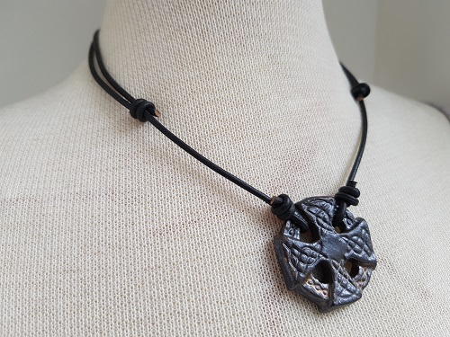 Celtic cross in stoneware clay black leather necklace