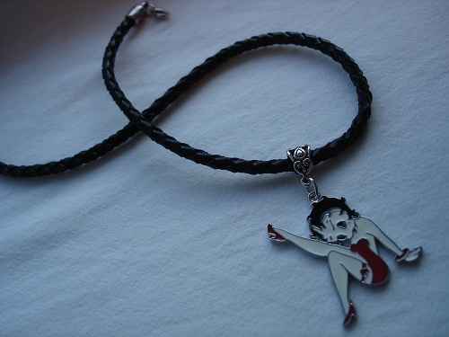 Betty Boop leather necklace