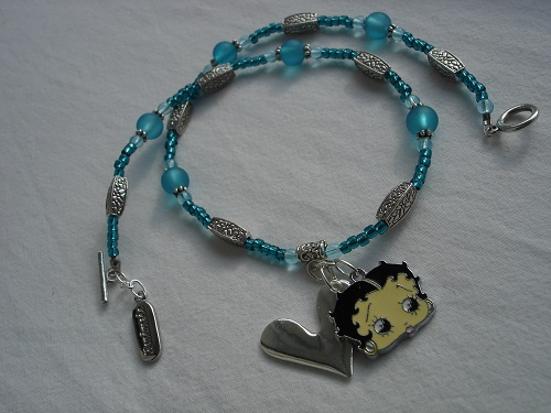 Sea blue necklace with Betty Boop