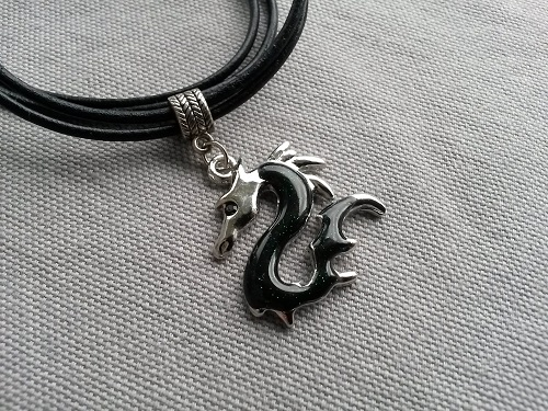 Leather necklace with a green dragon